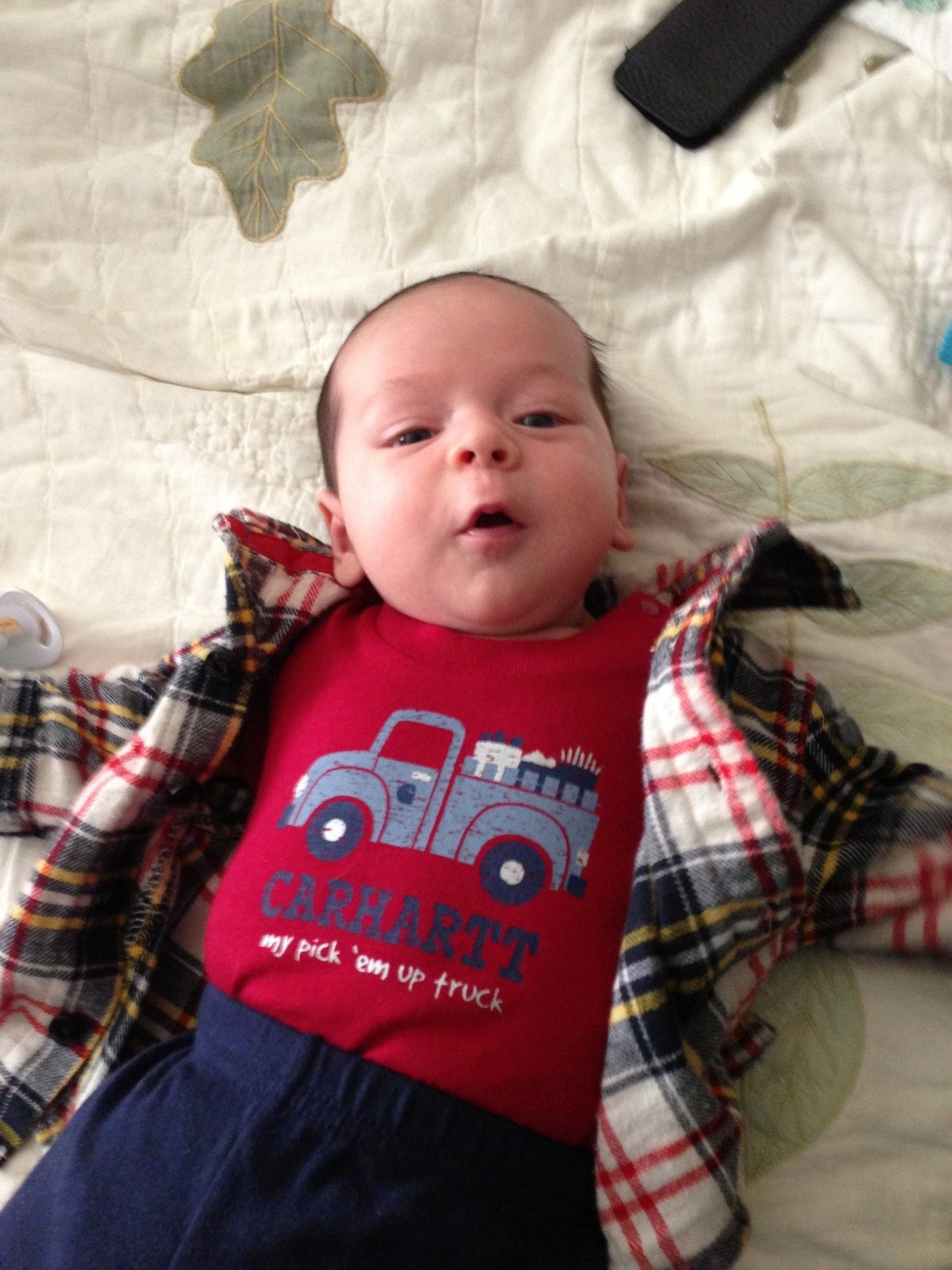 Luca with His Pick 'Em Up Truck Onesie!