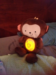 """We call him """"The Sleep Monkey,"""" he has miraculous calming powers and totally helped Luca calm down after his shot."""