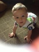 He's crawling!
