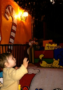 "Luca trying to catch the ""snow"" falling at the Snoopy House."