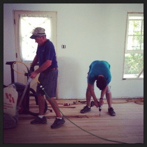 Caleb is repairing some damaged floor boards that needed love before we even moved in.