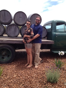Chris and I on a (pre-scheduled) wine tasting trip while I was pregnant and starting to show.